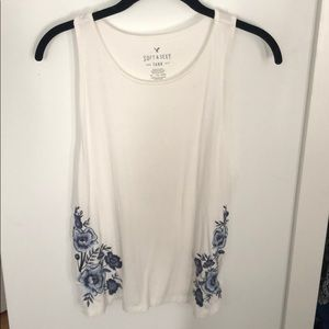 American Eagle tank with floral stitching